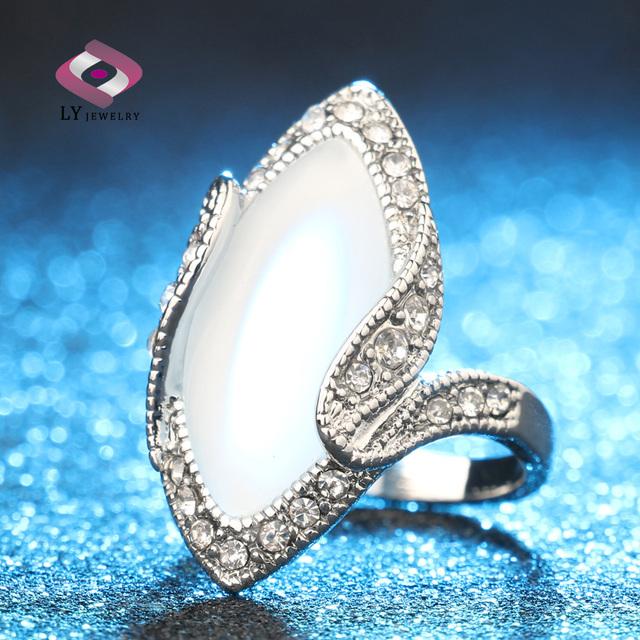 Горячая распродажа 2015 люкс мода большой овальный опал кольцо винтажный вид посеребренная ...