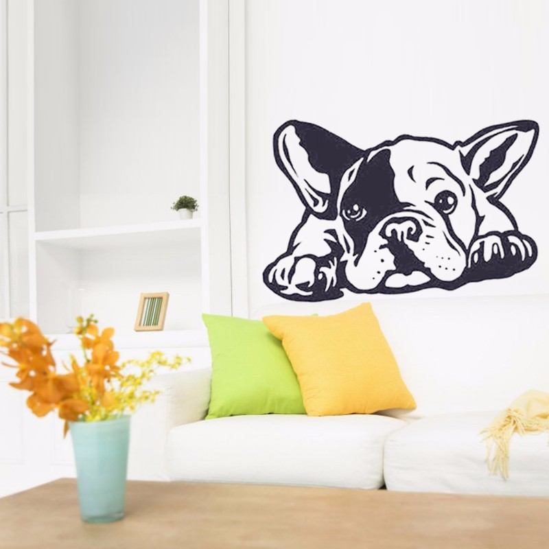 2016 new hot french bulldog dog wall decals vinyl wall dog house wall decal sticker large