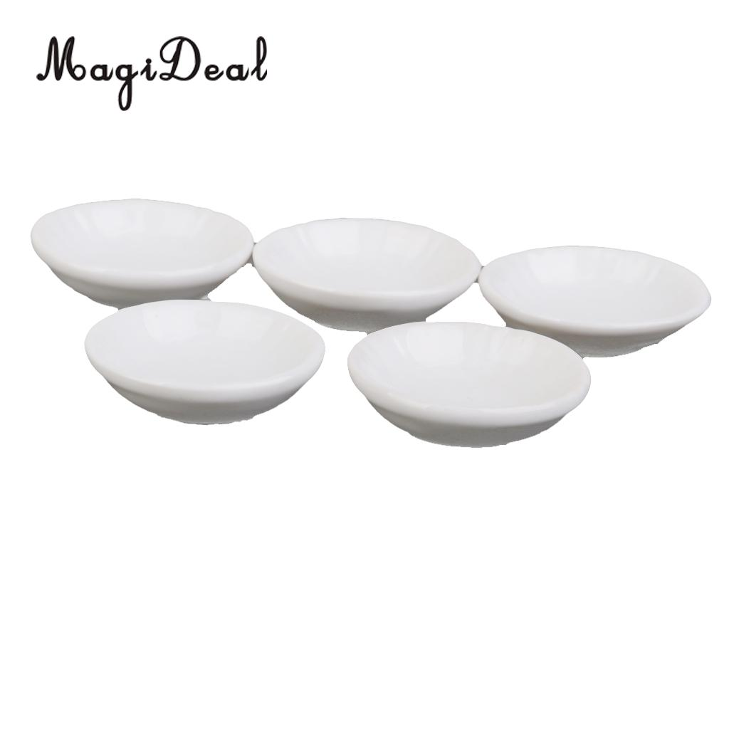 MagiDeal 5Pcs/Set 1/12 Dollhouse Miniature Ceramic Dishes Plates Dining Ware Tableware Decor for Kids Kitchen Pretend Play Toy