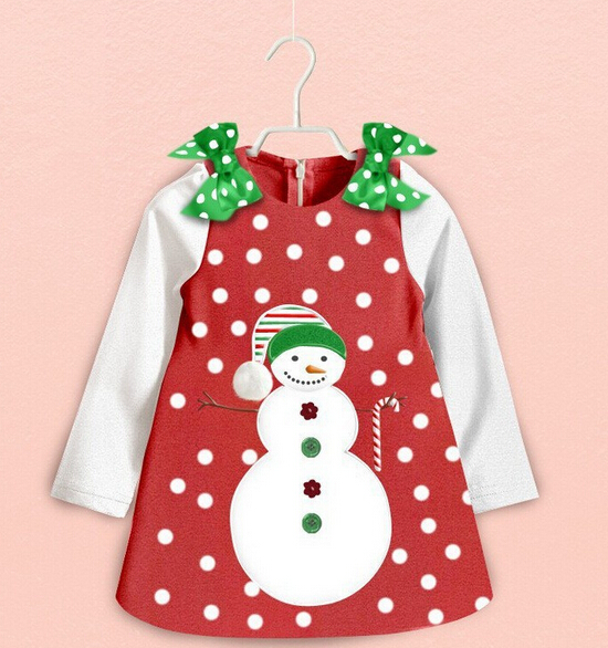 DOZ284 Free shipping 2015 1 PC. girl dress long sleeve dot light snow flower Snowman party Dress baby dress retail and wholesale(China (Mainland))