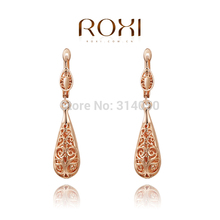 ROXI Sale rose gold drop earrings,Nickle free antiallergic fashion jewelry earrings,Hollow out elegant 3 color gift,2020019280(China (Mainland))