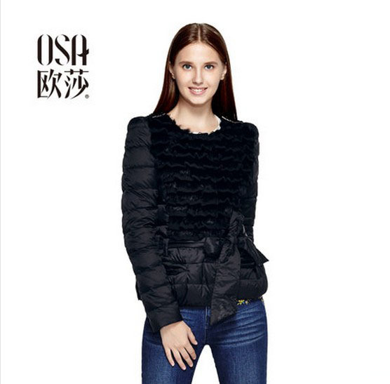 OSA 2014 New Winter Fashion Lace Splicing Bow Decoration Women Down Coat Puff Sleeve Solid Color Winter Jacket Outwear SY408026(China (Mainland))