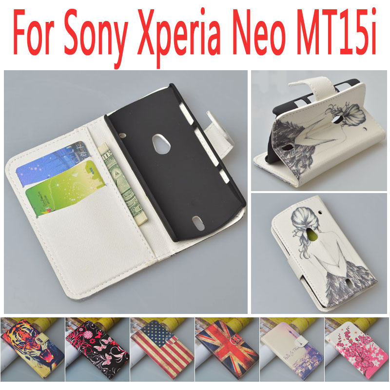 Print Pattern PU Leather Case Cover For Sony Ericsson Xperia Neo V MT11i MT15i phone bags with stand function and card slots(China (Mainland))