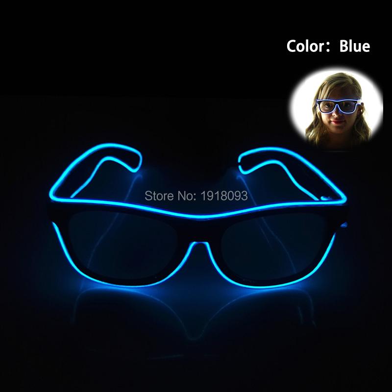 2017 New Shutter Fashionable Glasses EL Wire Novelty Lighting LED Neon Light Up Party Festival decor DC-3V Driver