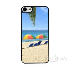 For iphone 4/4s 5/5s 5c SE 6/6s 7 plus ipod touch 4/5/6 back skins mobile cellphone cases cover Beach Sunbeds Umbrellas Ocean