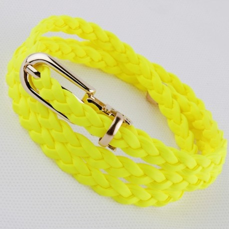 free shipping Fashion japanned leather neon color women's thin belt knitted small belt women's chain japanned leather belt(China (Mainland))