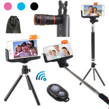 Hot Photo Selfie Kit:Tripod Stand+8X Zoom Lens+Bluetooth Camera Shutter+Stick Monopod For Samsung Galaxy Note 5/4 S6 Edge Plus