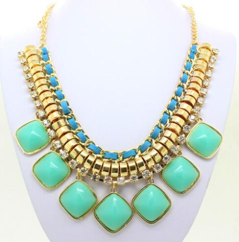 2016 Fashion Gold Chain Candy Color Resin Tassels Pendants Necklace Ribbon Beaded Bib Statement Chunky Necklaces 6 Colors(China (Mainland))