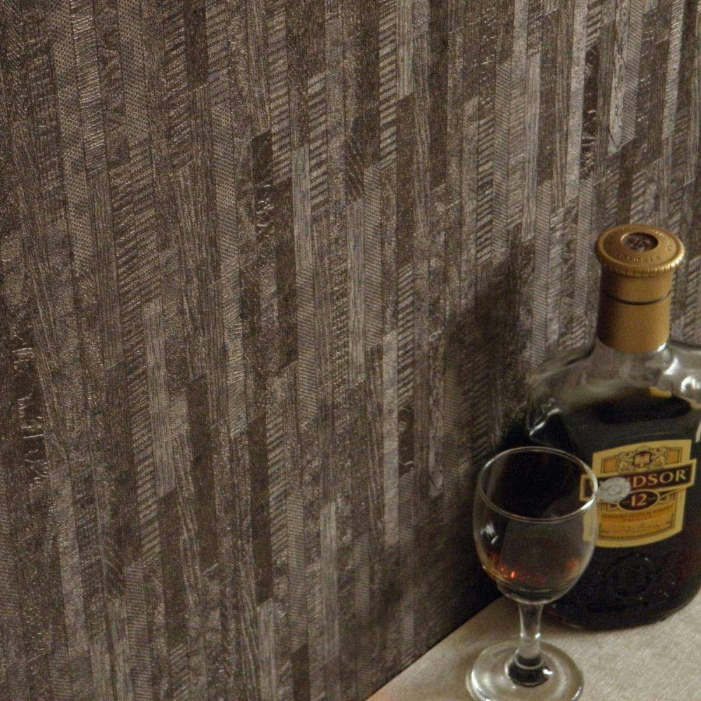 Dark coffee wallpaper 3d wood striped wallpaper embossed for 3d wood wallpaper