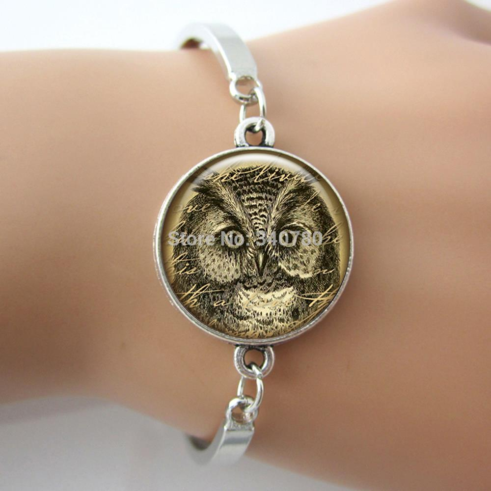 Vintage Owl Picture Charm Bracelet, Image Glass Cabochon Dome Metal Bangle bracelet one piece free shipping BO01(China (Mainland))