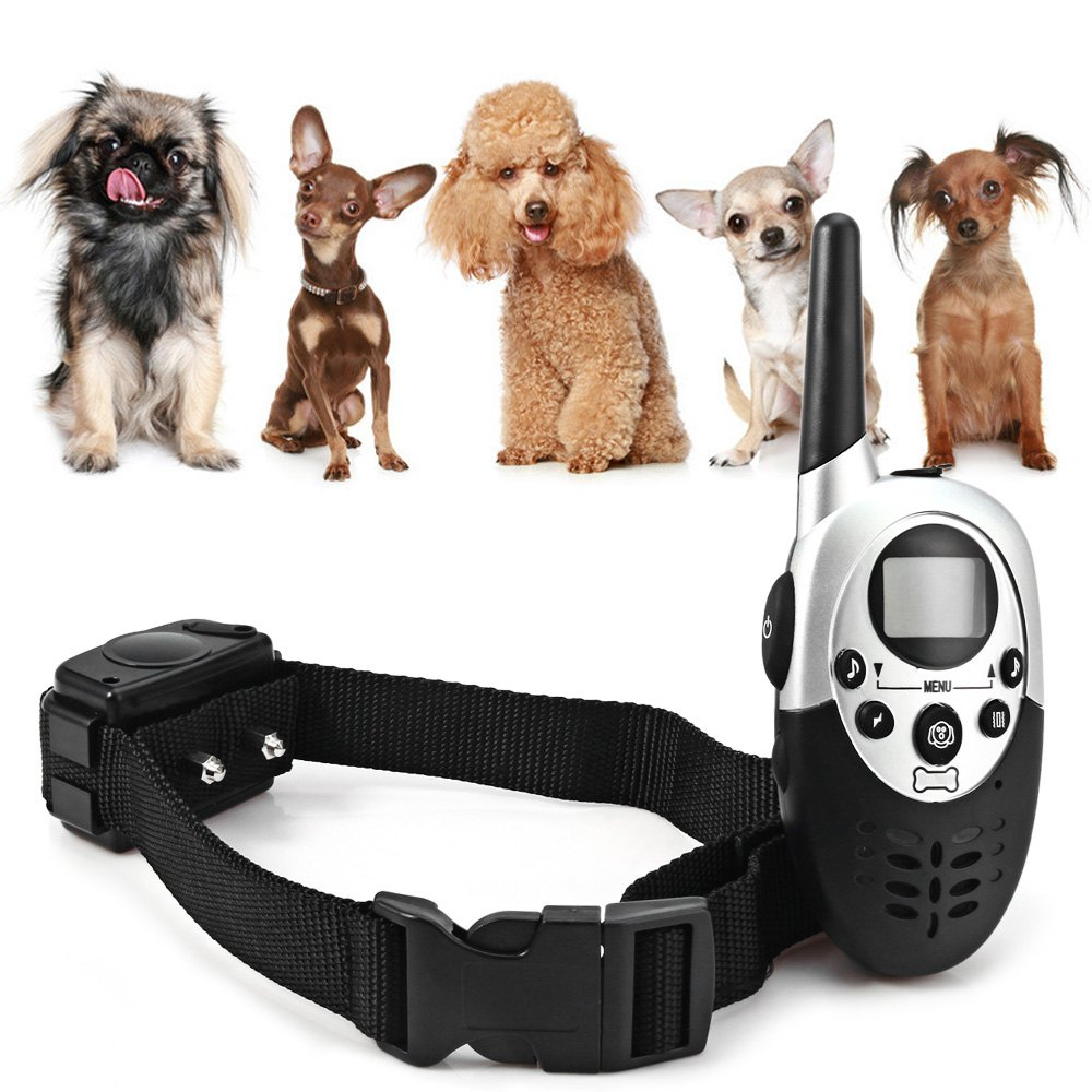 2016 New Dog Training Collar Dog Trainer 1000M Rechargeable LCD Remote Pet Electric Shock Large Dog Collar Leads(China (Mainland))