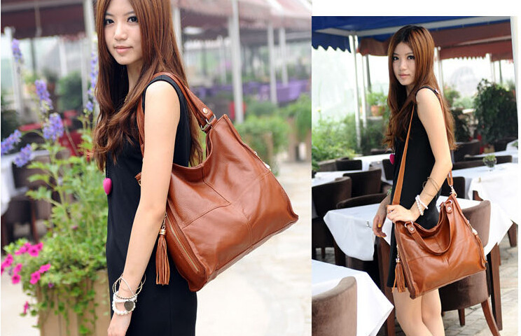 2014 Fashion Women's Handbag Genuine Leather Tassel Messenger Bag