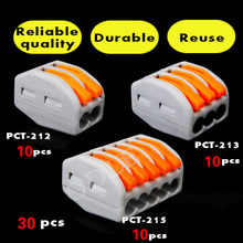 Buy , 30PCSWago type 10pcs 2P + 10pcs 3P + 10pcs 5P Universal Compact Wire Connector Conductor Terminal Block for $10.33 in AliExpress store