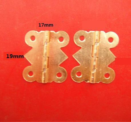 19*17 mm Small Brass Plated Box Craft Hinges Hardware Arts And Crafts 90 degrees Butterfly Hinge Free Shipping(China (Mainland))