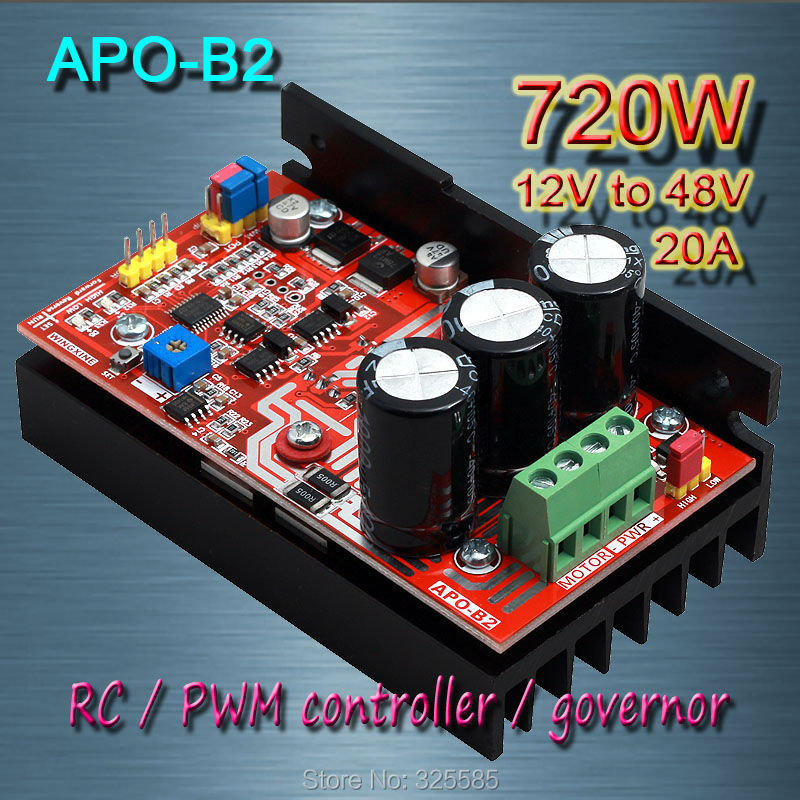 Free shipping , APO-B2 DC brush motor PWM controller + RC + speed controller 720W(MAX)/12V-48V(China (Mainland))