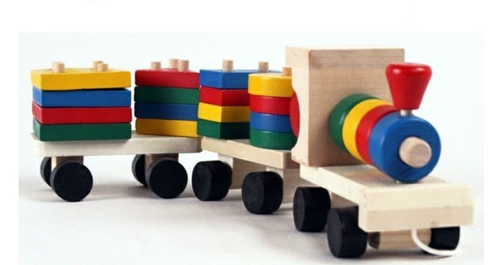 Retail free shipping Environmental Protection Wooden Toy three Section Blocks Cars Small Tractor Train P026p(China (Mainland))