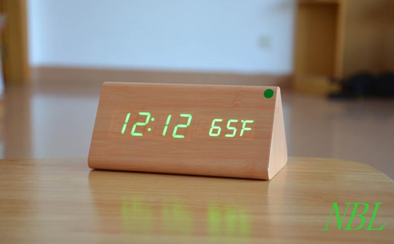 Bamboo Wooden Desk Clock Color LED Thermometer Originality Desktop Alarm Clocks Despertador Snooze Sound Control Sensing(China (Mainland))