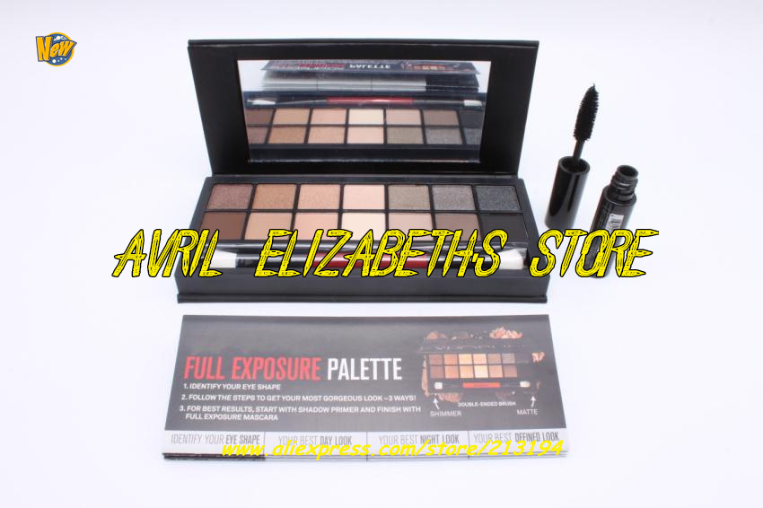 12SET/LOT New Brand Full Exposure Eyeshadow Palette Mascara Set 14 Color Eyeshadow Palette Free Shipping(China (Mainland))