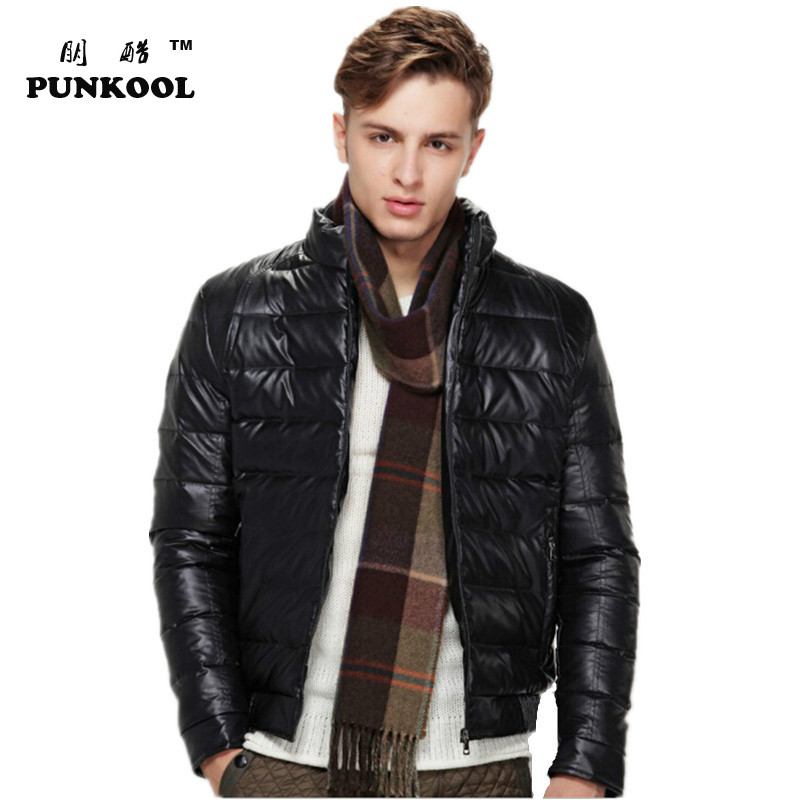 Winter new  fashion Korea style slim stand collar white duck down Jackets Coat Outdoor Motorcycle PU leather Mens Down OuterwearОдежда и ак�е��уары<br><br><br>Aliexpress
