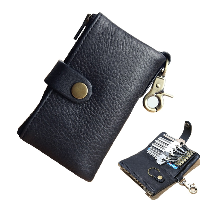 Multifunction Car Key Case Wallet Leather Pack Holder Bag Cowhide Balck Card Wallets Coin Cash Purse 6 Chain Quality NEW - EACME store