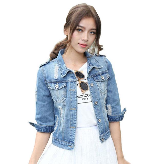 Voobuyla марка Большой размер 5XL Spirng джинсовая куртка для женщин 2016 три четверти ...