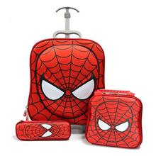 3 luggage set Rolling Backpack School bags Kids Hello kitty Spiderman Backpacks Children School bags Eva Cartoon Trolley Bags(China (Mainland))