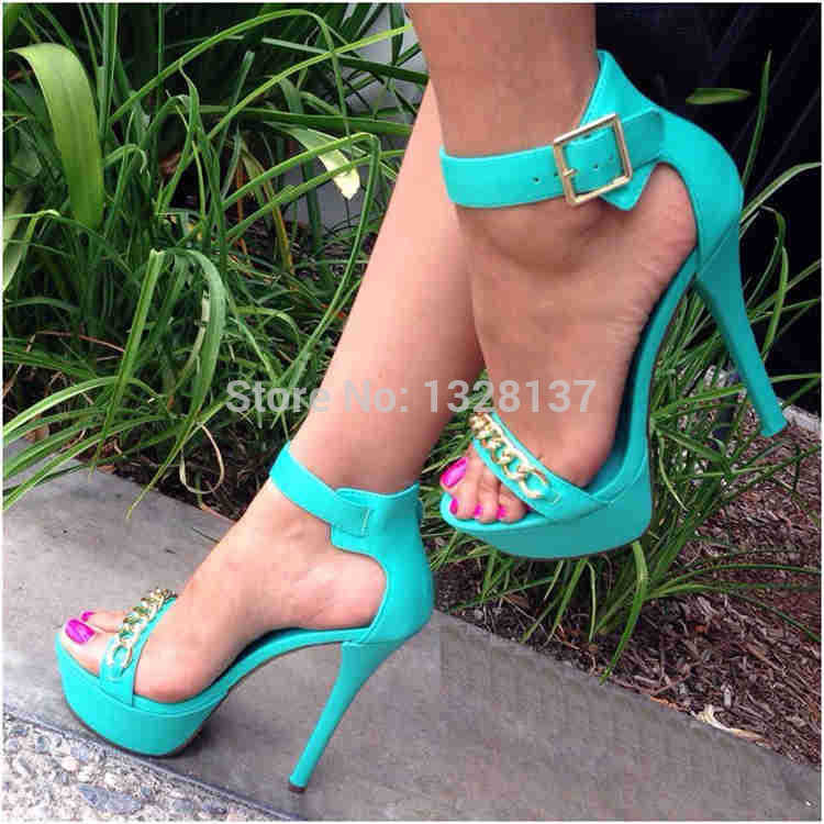 Ladies Big Size US14 Chains Gladiator Platforms Leather Shoes Women Pumps High Heel Sandals sandalias femininas zapatos mujer<br><br>Aliexpress