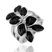 Silver or 14 K Gold  Plated Austrian Fashion Jewelry Crystal  Flower Rings for women ,Promotion  G082(China (Mainland))