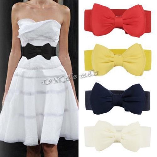 1 PCS 2017 Fashion Sweet Women Bowknot Elastic Bow Wide Stretch Buckle Waistband Waist Belt
