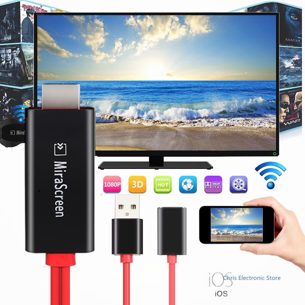 MiraScreen TV stick 1080P Full-HD Airplay Mirroring Cable For IOS Smart phone USB Wired Display TV Dongle(China (Mainland))