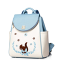 Lovely Embroidered Animal Fashion Backpack Women Japan And Korean Style Designer Bag Flap Magnetic Button Bag