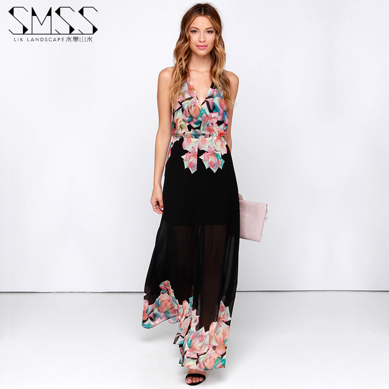 2016 spring and summer bohemia one-piece dress spaghetti strap racerback sexy chiffon beach full dress free shipping(China (Mainland))