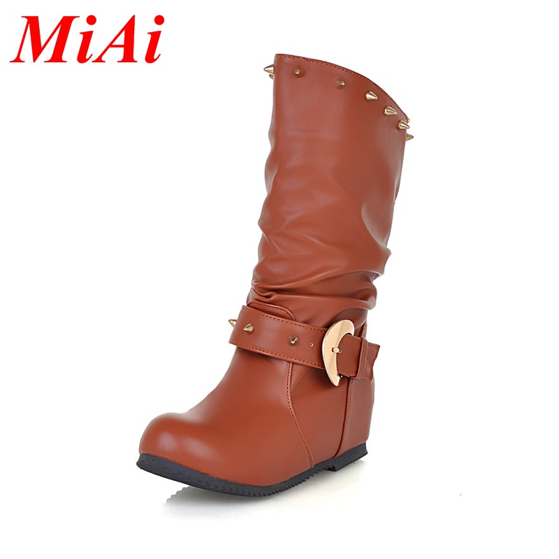fashion women winter boots 2016 round toe Height Increasing rivets casual shoes women mid calf boots black winter boots 34-43<br><br>Aliexpress