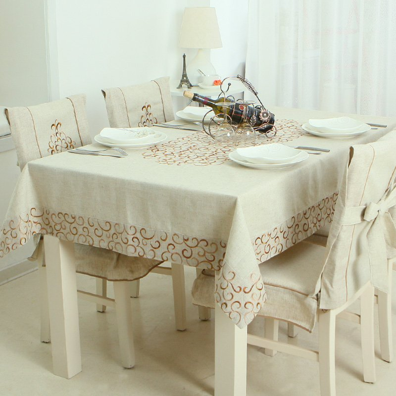 Home Textiles Embroidered Tablecloths Coffee Cotton Linen Table Cloth Chair Cover Cushion Continental Kit Free