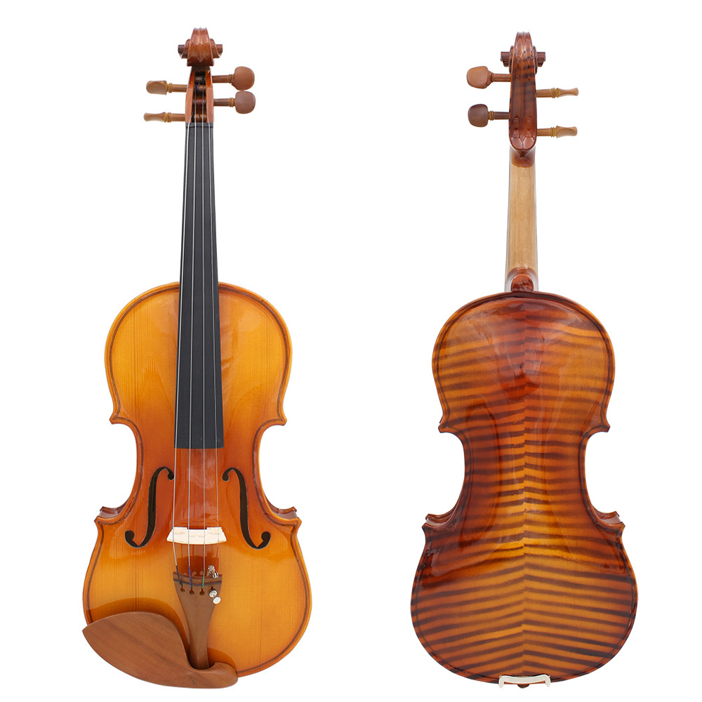 Full Size 4/4 Violin Fiddle Natural Acoustic Violin Solid Wood Spruce Flame Maple Veneer Jujube Wood Parts with Case Rosin Wiper(China (Mainland))