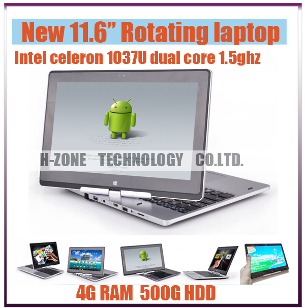 Rotating Ultrabook Touch Screen 11.6 Inch Laptop With Intel Celeron Dual Core CPU 4GB RAM 500GB HDD Win8 OS Bluetooth USB 3.0(Hong Kong)