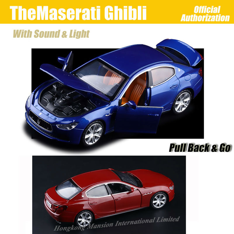 1:32 Scale Luxury Diecast Alloy Metal Super Sports Car Model For TheMaserati Ghibli Collection Model Pull Back Toys Car(China (Mainland))