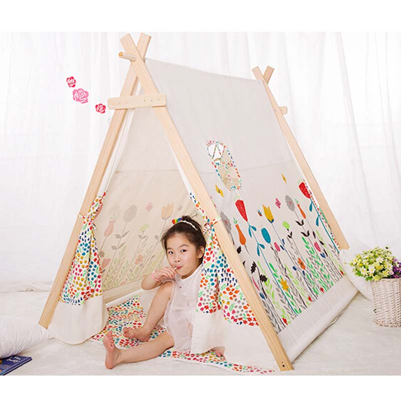 acheter populaire 100 coton kid tente tipi tissu tente tipi pour enfants cool. Black Bedroom Furniture Sets. Home Design Ideas