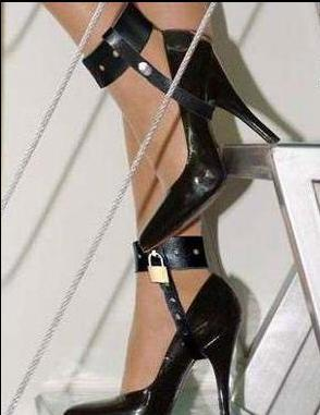 Leather High heels locking belt Bondage Restraint Gear Adult Game Sex Toys (Exclude Shoes)(China (Mainland))