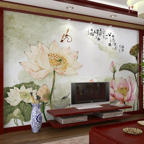 Free Shipping 3D Water lotus nine fish mural living room lobby TV bathroom backdrop sofa tea house library wallpaper mural(China (Mainland))