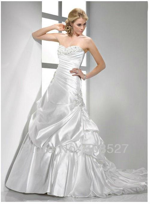 2016 на заказ белый / слоновая кость атласная роскошные складки аппликации бисером блестками оборками-line свадебное платье свадебное платье