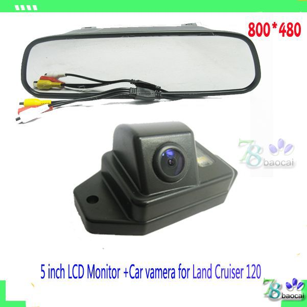 "2in1 CCD rearview backup rear parking camera for Land Cruiser 120 and HD Car 5"" car mirror monitor Automobile Parking Assistance(China (Mainland))"