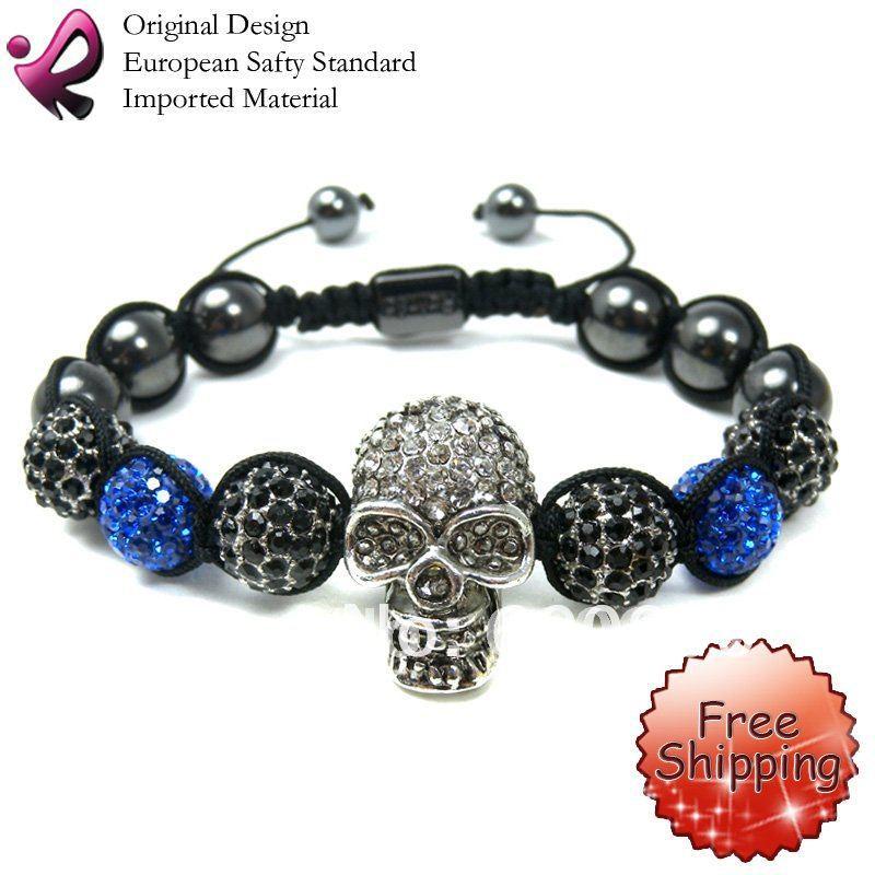 FREE SHIPPING Crystal Skull Bracelet Shamballa Bracelets Wholesale Pave Skull Beads(China (Mainland))