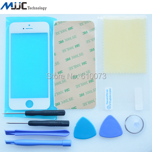 LCD Front Touch Screen Glass Outer Lens + Opening Tools+3M Sticer+Free Screen Protector for iPhone 5 5S 5C Clear Film White