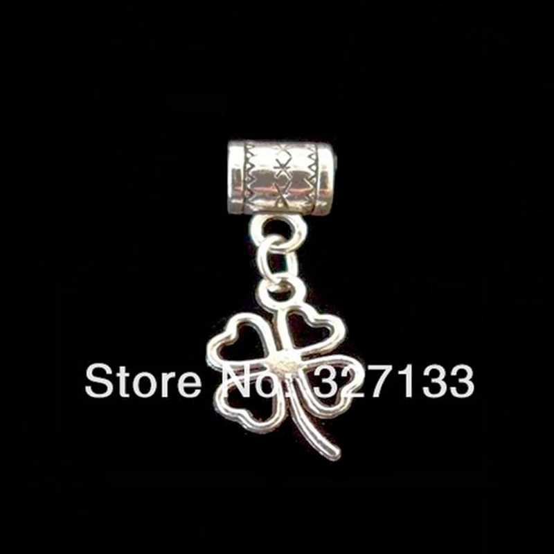 Wholesale 100pcs Antique Silver Alloy Lucky Clover Charm Pendant Charm Beads Fit Bracelets Bangles DIY Jewelry 34X14mm S2961(China (Mainland))