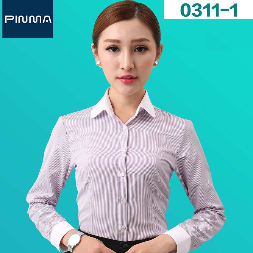 New Design Blouse Tops long sleeve ol brand clothes business black and white striped shirt for work office shirts chemise femme(China (Mainland))