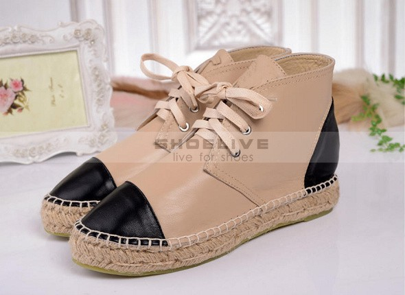 New Arrival Cap Toe Color Block With Jute Textured Rope Women Flat