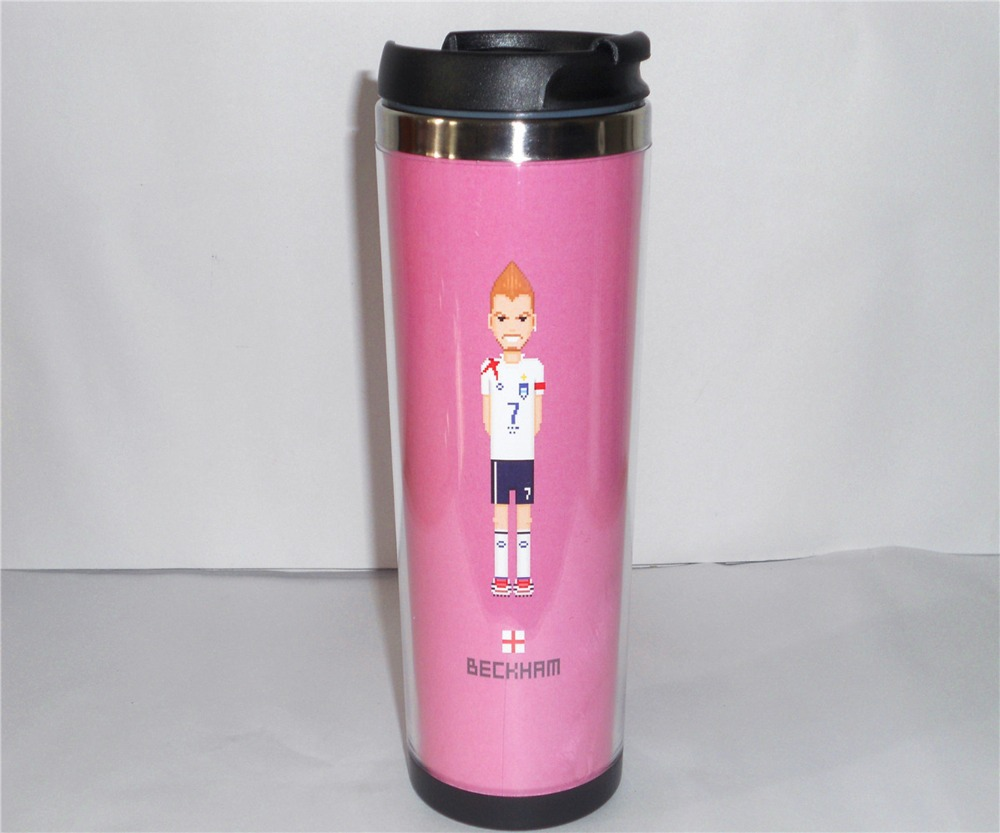 New DIY Creative Coffee Cup England David Beckham Water Cup Travel Cup Stainless Steel 18 CM 14 OZ Best Gift Free Shipping(China (Mainland))