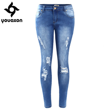 2016 Youaxon Plus Size Ripped Fading Jeans Women`s True Denim Skinny Distressed Jeans For Women Jean Pencil Pants Free Shipping