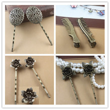 A pair retro fashion hairpins  hair clips pins woman lady hair accessories flower bronze barrettes for hair(China (Mainland))